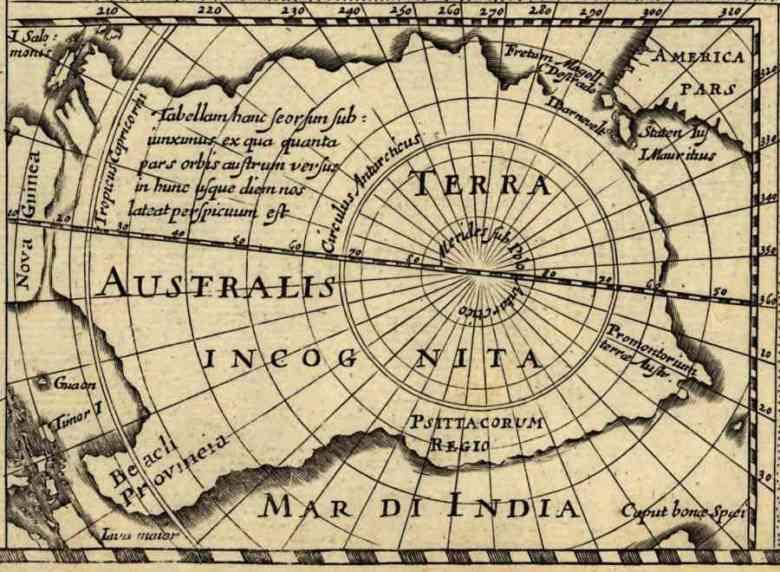 Carta Terra Australis Incognita , Hondius, 1618