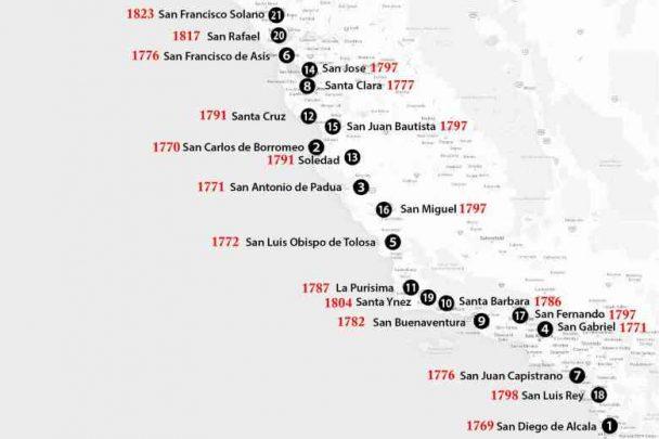 2 California. mappa 2fondazione Missioni spagnole