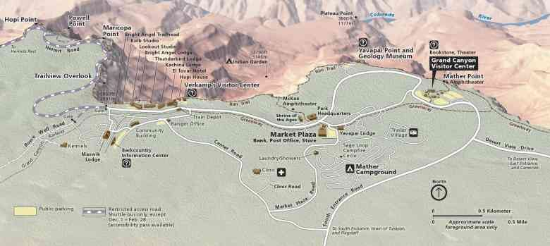 5Gran Canyoon South Rim map